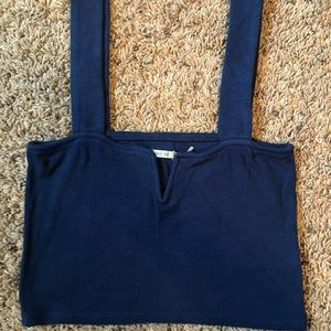 Blue Crop Top with Wired V and Thick Accent Straps